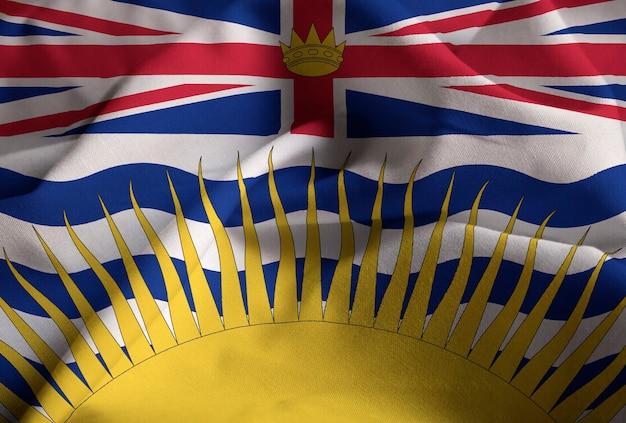 Nahaufnahme der gekräuselten britisch-columbia-flagge, britisch-columbia-flagge, die im wind durchbrennt