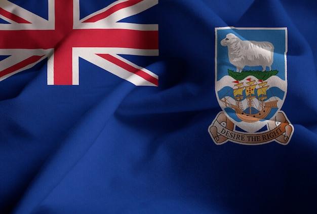 Nahaufnahme der gekräuselten falklandinseln-flagge, falklandinseln-flagge, die im wind durchbrennt