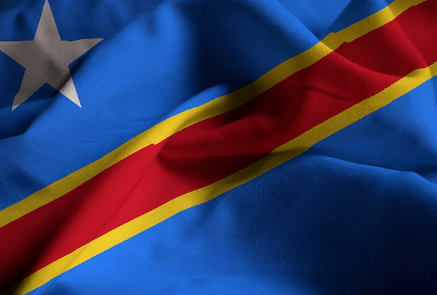Nahaufnahme der gekräuselten flagge der demokratischen republik kongo