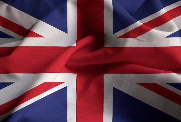 Nahaufnahme der gekräuselten flagge vereinigten königreichs, vereinigtes königreich-flagge, die im wind durchbrennt