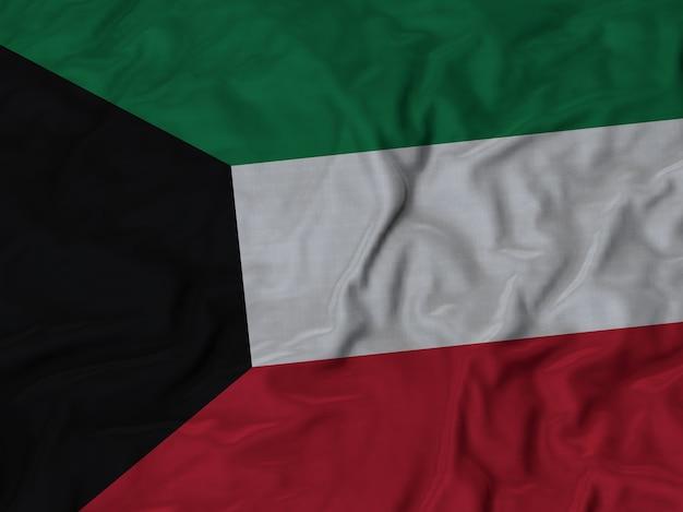 Nahaufnahme der gekräuselten kuwait-flagge