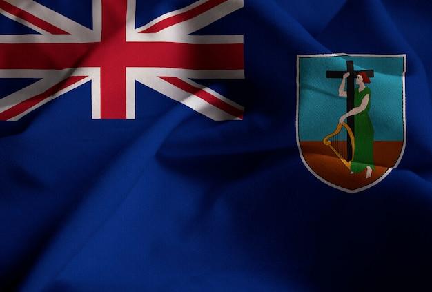 Nahaufnahme der gekräuselten montserrat-flagge, montserrat-flagge, die im wind durchbrennt
