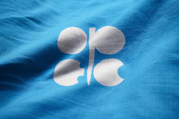 Nahaufnahme der gekräuselten organisation der flagge der erdöl exportierenden länder