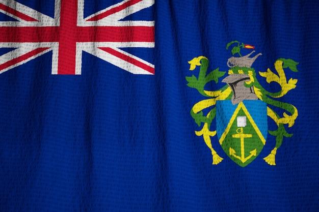 Nahaufnahme der gekräuselten pitcairn-insel-flagge, pitcairn-insel-flagge, die im wind durchbrennt