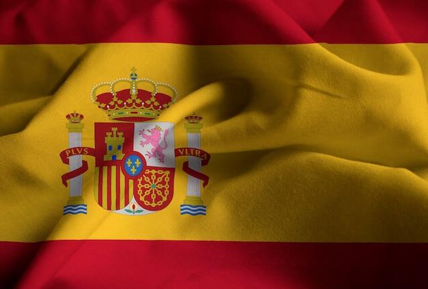 Nahaufnahme der gekräuselten spanien-flagge, spanien-flagge, die im wind durchbrennt