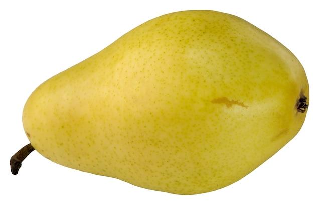 Nahaufnahme der gelben birnenfruchtmakrofotografie auf weißem hintergrund lokalisiert