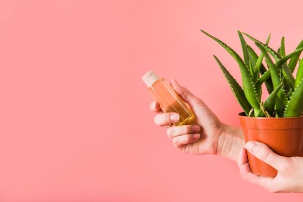 Nahaufnahme der hand einer person, die aloevera sprühflasche und topfpflanze auf farbigem hintergrund hält