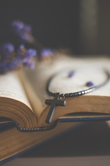 Nahaufnahme der hölzernen christlichen kreuzhalskette nahe bei heiliger bibel
