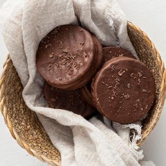 Nahaufnahme der köstlichen alfajores kekse