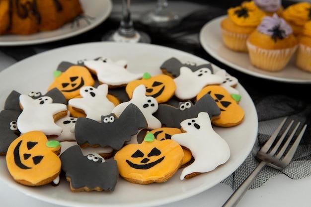 Nahaufnahme der köstlichen halloween-kekse