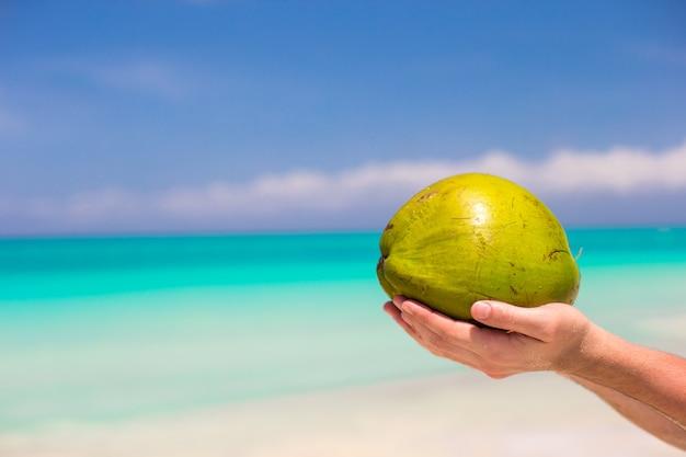 Nahaufnahme der kokosnuss in den männlichen händen gegen das türkismeer