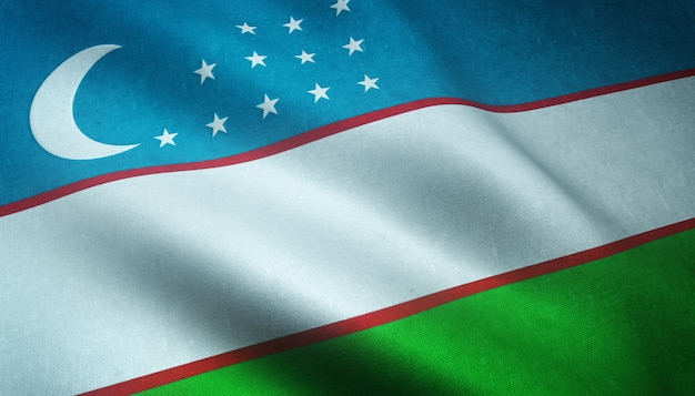 Nahaufnahme der realistischen flagge usbekistans mit interessanten texturen
