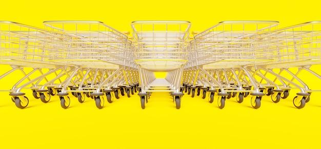 Nahaufnahme der reihe der gestapelten einkaufswagen auf gelb