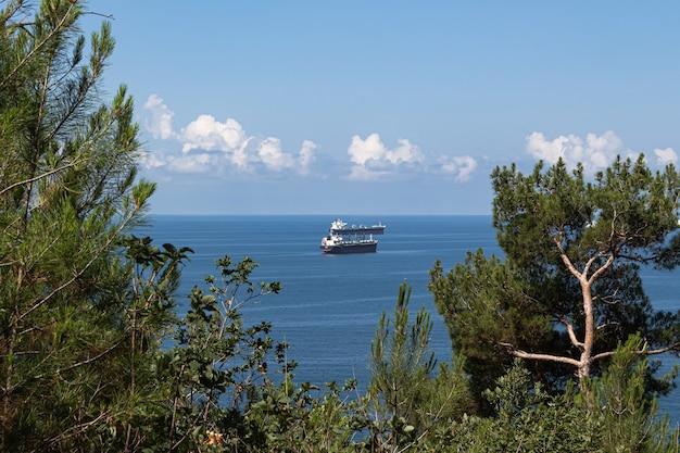 Nahaufnahme der sommerlandschaft blaue seewolken über dem horizont und frachtschiffen