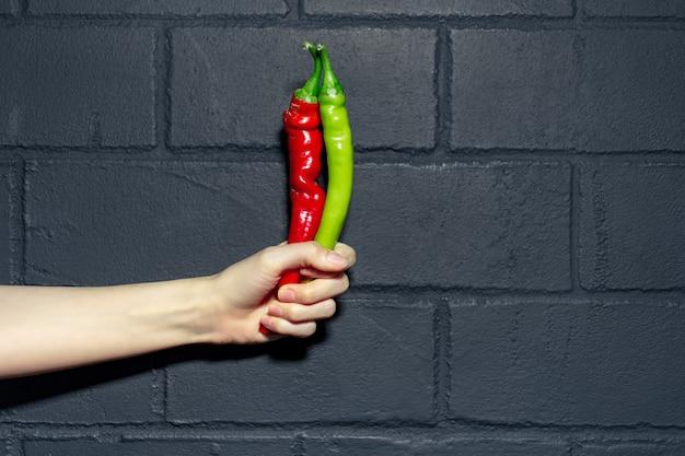Nahaufnahme der weiblichen hand, die zwei pfeffer der roten und grünen farben auf hintergrund der schwarzen backsteinmauer hält.