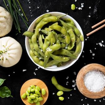 Nahaufnahme des asiatischen bohnenkonzepts