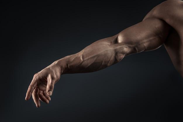 Nahaufnahme des athletischen muskulösen armes und des torsos