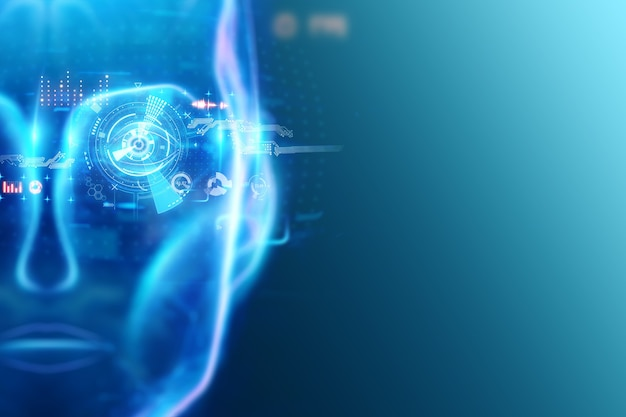 Nahaufnahme des auges der künstlichen intelligenz und der holographischen bilder, hologramm. futurismus-konzept neue technologien.