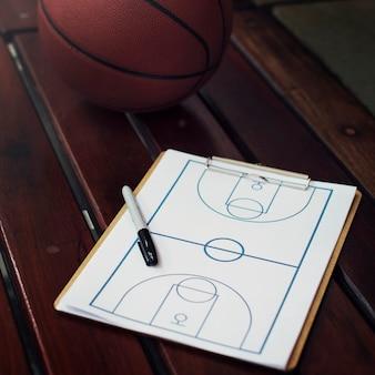 Nahaufnahme des basketball-schemataktik-spielplans