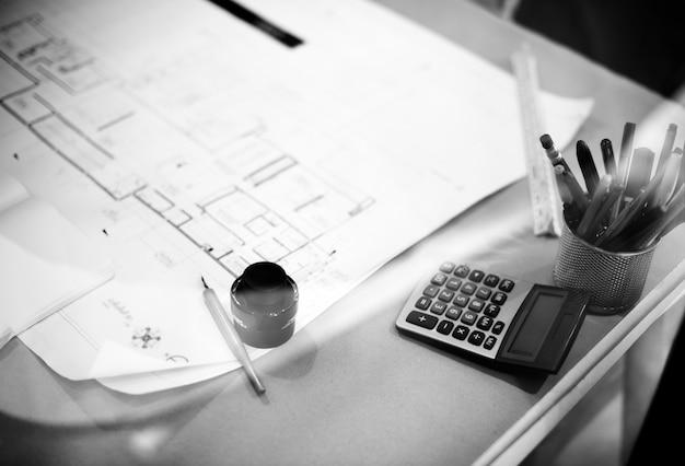 Nahaufnahme des bauplans für die architektur