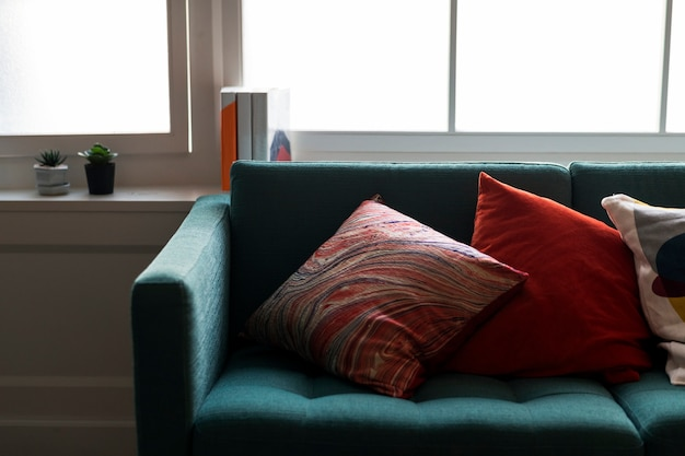 Nahaufnahme des bequemen sofas
