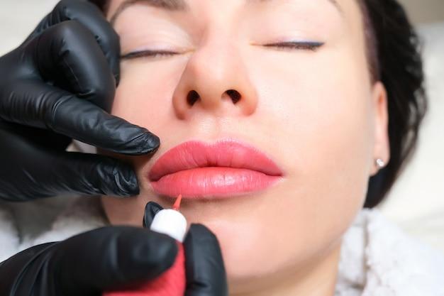 Nahaufnahme des dauerhaften lippenmake-ups