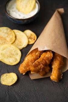 Nahaufnahme des fish and chips-konzepts