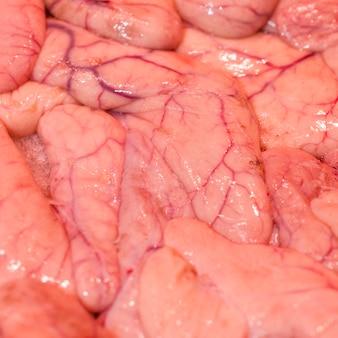 Nahaufnahme des frisch geschnittenen fleisches im markt