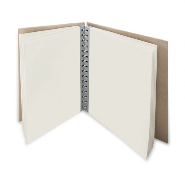Nahaufnahme des geöffneten lehrbuchs mit leeren seiten