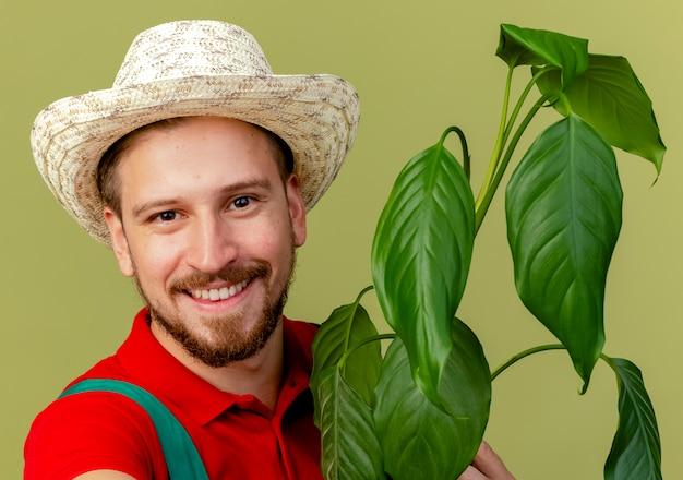Nahaufnahme des glücklichen jungen hübschen slawischen gärtners in der uniform und in der huthaltepflanze lokalisiert auf olivgrüner wand
