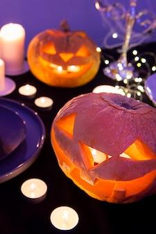 Nahaufnahme des halloween-kürbiskonzepts