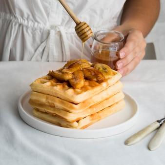 Nahaufnahme des köstlichen waffelkonzepts