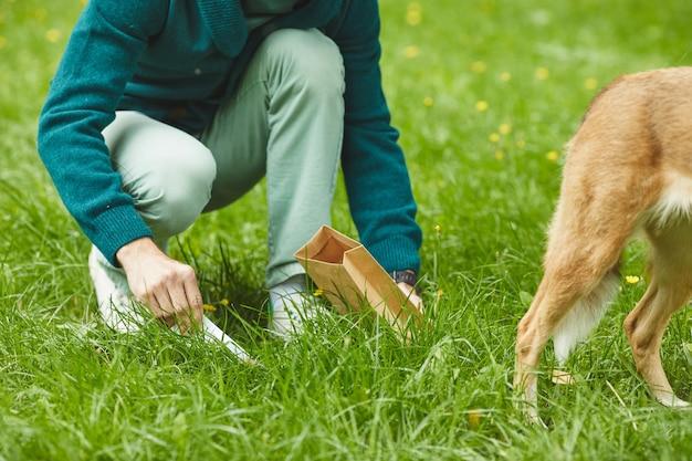 Nahaufnahme des mannes, der nach seinem hund aufräumt, während sie im park gehen