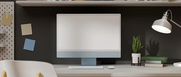 Nahaufnahme des modernen minimalen arbeitsbereichs mit babyblauem desktop-computermodell 3d-rendering