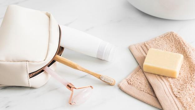 Nahaufnahme des öko-kosmetikkonzepts