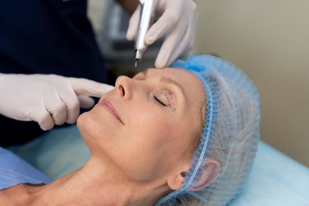 Nahaufnahme des patienten bereit für die operation