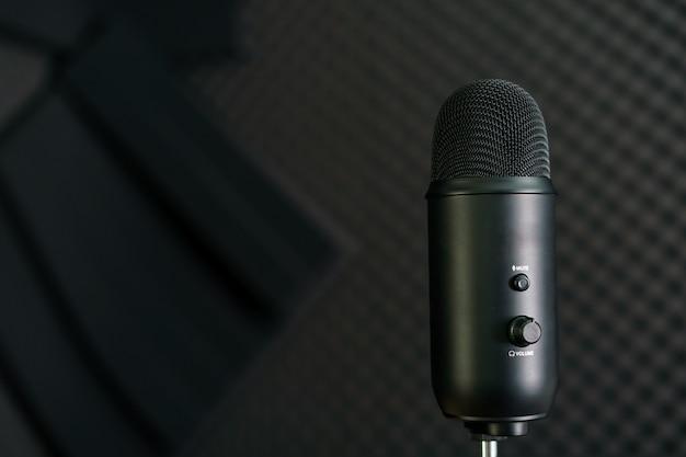 Nahaufnahme des professionellen kondensatormikrofons