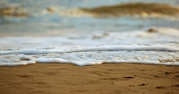 Nahaufnahme des salzwasserschaums auf dem sand.