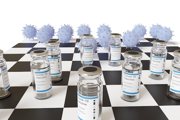 Nahaufnahme des schachspiels zwischen impfstoffen und coronavirus.