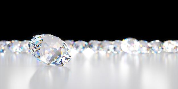 Nahaufnahme-diamant auf dem hintergrund vieler diamanten, die hinten liegen, 3d illustration