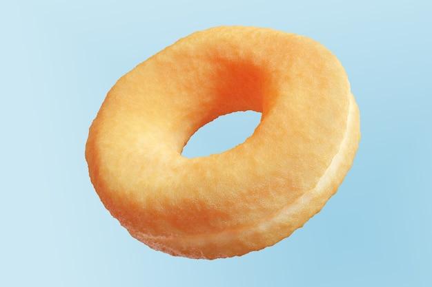 Nahaufnahme donut isoliert auf blauem hintergrund schwimmend. minimal food idea konzept 3d-rendering.