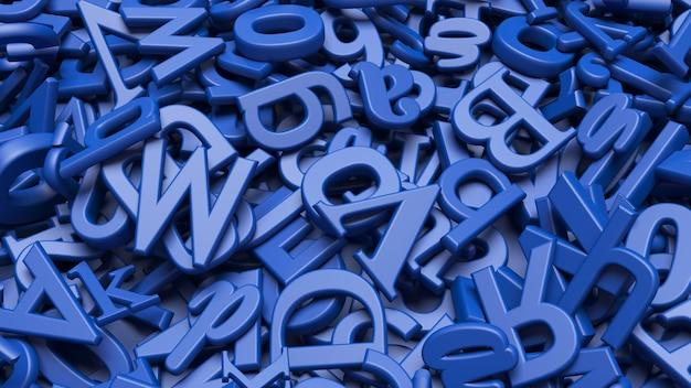 Nahaufnahme einer ansicht vieler 3d-buchstaben des blauen alphabets