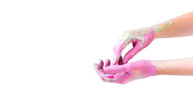 Nahaufnahme einer menschlichen hand gemalt auf weißem hintergrund