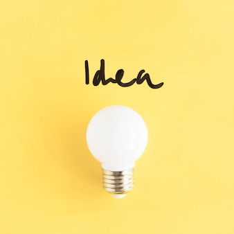 Nahaufnahme einer weißen glühlampe mit ideenwort auf gelbem hintergrund