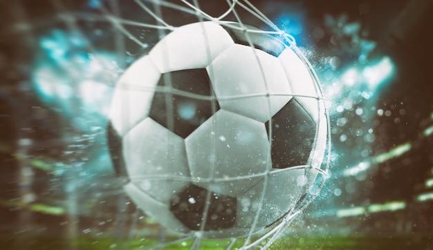 Nahaufnahme eines balls, der in einem fußballspiel ins netz kommt