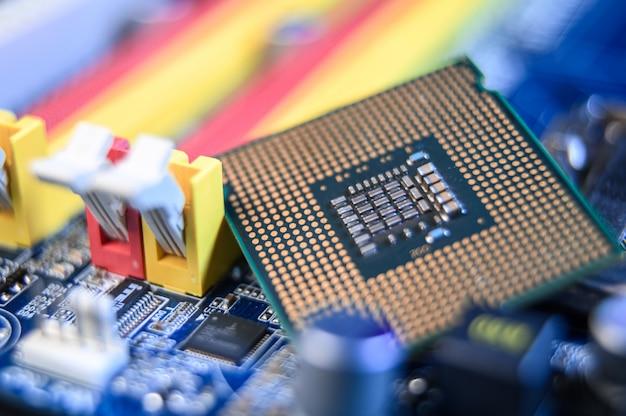 Nahaufnahme eines computer-motherboards, computerindustriekonzept.