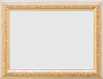 Nahaufnahme eines goldenen leeren weißen Rahmens