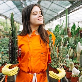 Nahaufnahme eines jungen weiblichen gärtners, der kaktustopfpflanzen hält