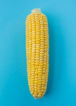 Nahaufnahme eines maiskolbens auf blauer oberfläche