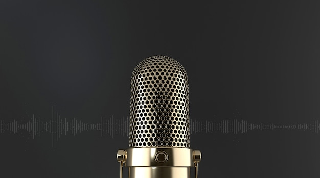 Nahaufnahme elegantes goldenes mikrofon frontal auf schwarzem hintergrund mit schallwellen. podcast, live, streaming-konzept. 3d-rendering.